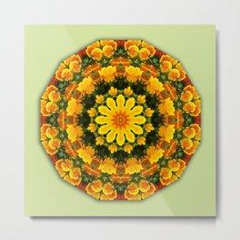 Floral mandala-style, California Poppies Metal Print