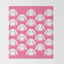 Mei the Strawberry Rabbit Throw Blanket