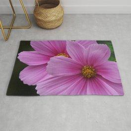 Two Pink Flowers Macro Rug