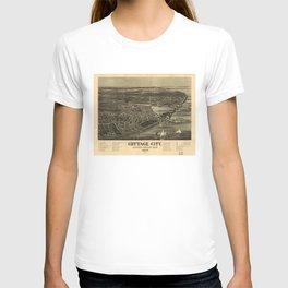 Aerial View of Cottage City (Oak Bluffs), Massachusetts (1890) T-shirt
