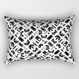 Control Your Game - Black on White Rectangular Pillow