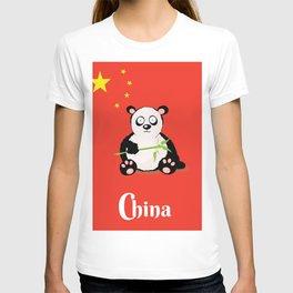 China Panda Cartoon poster T-shirt
