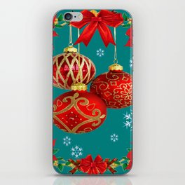 TEAL COLOR RED CHRISTMAS  ORNAMENTS &  POINSETTIAS FLOWER iPhone Skin