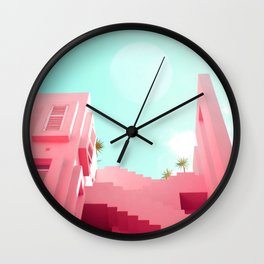 Pink Facade Moon Wall Clock