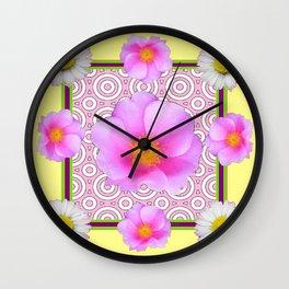Modern Art Style Shasta Daisy Pink Roses  Yellow color Abstract art Wall Clock