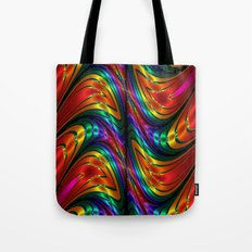 Fractal Silk and Metal Colors Waves Tote Bag