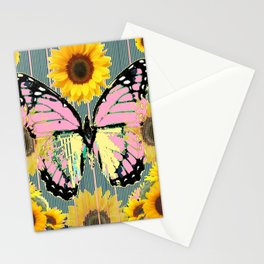 ABSTRACT PINK BUTTERFLY TEAL GARDEN SUNFLOWER Stationery Cards