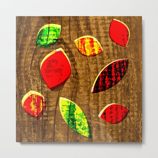colored leafs on wood Metal Print