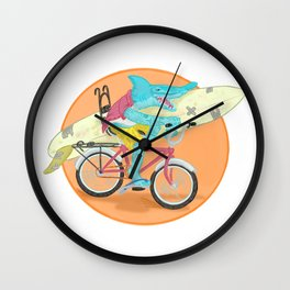 hammered hammerhead heading out to surf Wall Clock