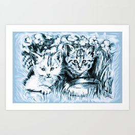 Blue Baby Cats Art Print