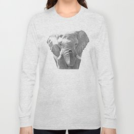 Black and white elephant illustration Long Sleeve T-shirt