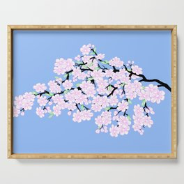 Cherry Blossoms Against Blue Sky Serving Tray