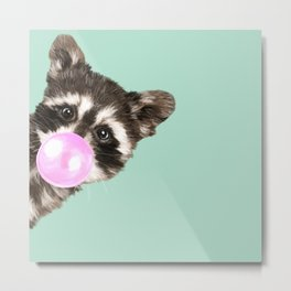 Bubble Gum Baby Raccoon Metal Print