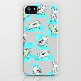 Aqua Yoga Pigs - Downward Facing Hog iPhone Case