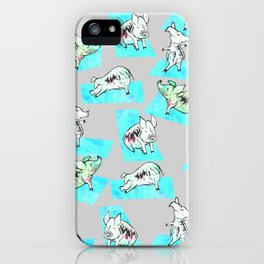 Aqua Yoga Pigs - Downward Facing Hog iPhone Case