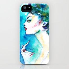Blue fashion illustration iPhone Case