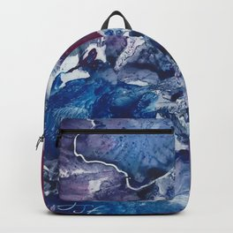 Blue and Red Abstract encaustic flowers Backpack