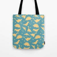 dinosaurs Tote Bags featuring Dinosaurs by Cyan Rose