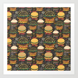 Graphic seamless pattern bright tasty burgers on a dark background Art Print