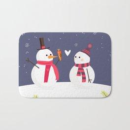Snowman has a crush for Christmas Bath Mat