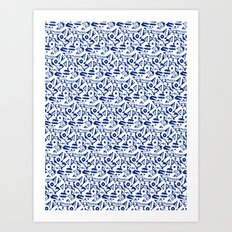 Blue Abstract Pattern Art Print