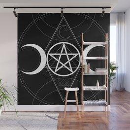 Triple Moon Pentagram Wall Mural