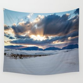 One More Moment - Sunbeams Burst From Clouds Over White Sands New Mexico Wall Tapestry