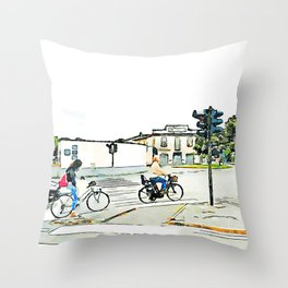 Faenza: women on bicycles stopped at traffic lights Throw Pillow