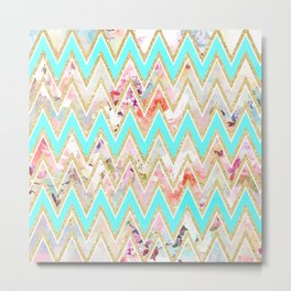 Chic floral watercolor gold chevron pastel teal pattern Metal Print