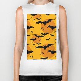 Abstract orange yellow black halloween bats animal pattern Biker Tank