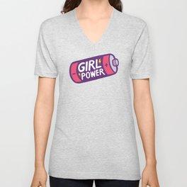 Girl Power Pattern in Purple Unisex V-Neck