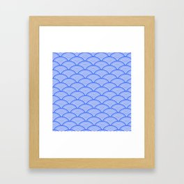 BLUE JAPANESE PATTERN Framed Art Print
