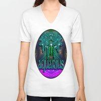zodiac V-neck T-shirts featuring Aquarius Zodiac by CAP Artwork & Design