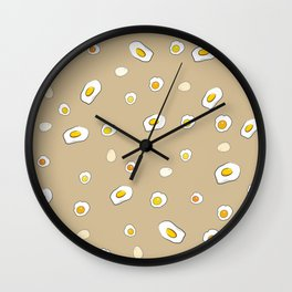 Egg Pattern Sand Art Print Cartoon Egg Yolks Modern Style Wall Clock