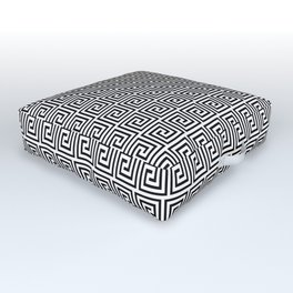 Large Black and White Greek Key Interlocking Repeating Square Pattern Outdoor Floor Cushion