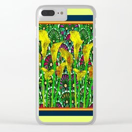 GREEN ART DECO YELLOW CALLA LILIES ART Clear iPhone Case