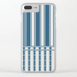 Dark Teal Grey Multi Stripe Design Clear iPhone Case