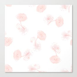 Seamless pattern of beautiful poppy flowers on a white background  Canvas Print