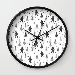 trees + yeti pattern Wall Clock