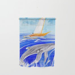 humpback whale and polynesian outrigger sail boat Wall Hanging