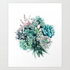 Cactus circle Art Print