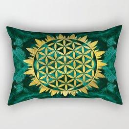 Gold Flower of life on malachite Rectangular Pillow