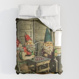 Garden Gnomes Playing Checkers Comforters
