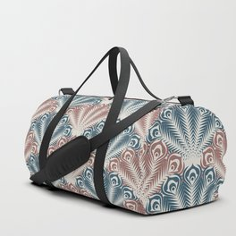 vintage scallop blue red pattern Duffle Bag