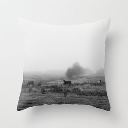 Horses in the Mist Black and White Throw Pillow
