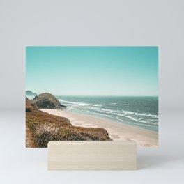 Beach Horizon | Teal Color Sky Ocean Water Waves Coastal Landscape Photograph Mini Art Print