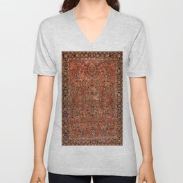 Persia Sarouk 19th Century Authentic Colorful Red Yellow Leaf Vintage Patterns Unisex V-Neck