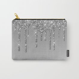 Gray & Silver Glitter Drips Carry-All Pouch