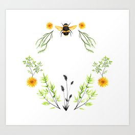 Bees in the Garden - Watercolor Graphic Art Print