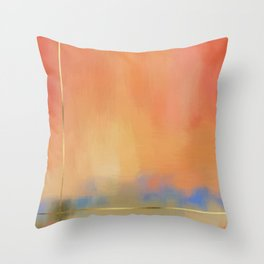 Abstract Landscape With Golden Lines Painting Throw Pillow